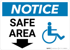 Notice: Safe Area with ADA Icon and Down Arrow Landscape