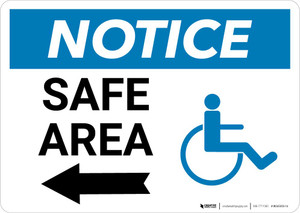 Notice: Safe Area with ADA Icon and Left Arrow Landscape
