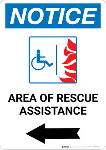 Notice: Area Of Rescue Assistance with ADA Fire Icon and  Left Arrow Portrait