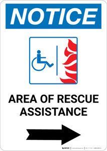 Notice: Area Of Rescue Assistance with ADA Fire Icon and Right Arrow Portrait