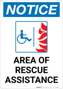 Notice: Area Of Rescue Assistance with ADA Fire Icon Portrait
