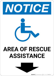 Notice: Area Of Rescue Assistance with ADA Icon Down Arrow Portrait