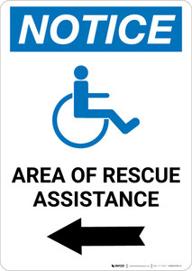 Notice: Area Of Rescue Assistance with ADA Icon Left Arrow Portrait