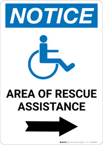 Notice: Area Of Rescue Assistance with ADA Icon Right Arrow Portrait