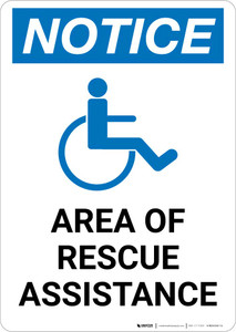 Notice: Area Of Rescue Assistance with ADA Icon Portrait