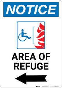 Notice: Area of Refuge with ADA Fire Icon and Left Arrow Portrait