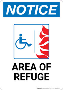Notice: Area of Refuge with ADA Fire Icon Portrait