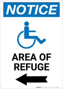 Notice: Area of Refuge with ADA Icon Left Arrow Portrait