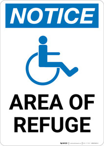 Notice: Area of Refuge with ADA Icon Portrait