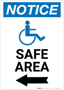 Notice: Safe Area Left Arrow with ADA Icon Portrait
