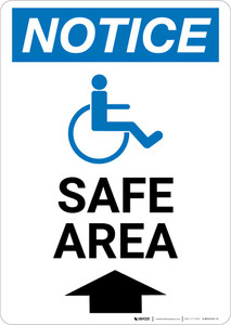 Notice: Safe Area Up Arrow with ADA Icon Portrait