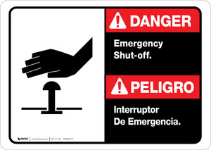 Danger: Spanish Bilingual Emergency Shut-Off Landscape ANSI