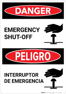 Danger: Bilingual Emergency Shut-Off with Icon Portrait