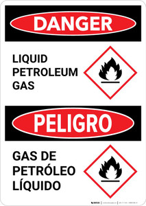 Danger: Bilingual Liquid Petroleum Gas with GHS Flammable Icon Portrait