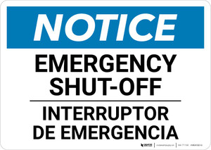 Notice: Bilingual Emergency Shut-off Landscape