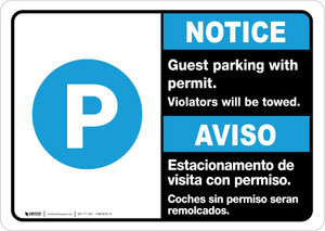 Notice: Bilingual Guest Parking With Permit - Violators Will Be Towed Landscape