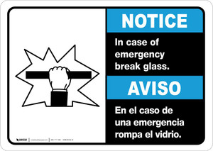 Notice: Bilingual In Case Of Emergency Break Glass with Icon Landscape