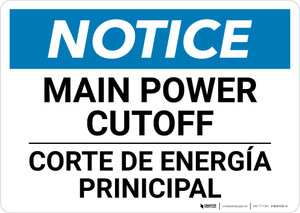 Notice: Bilingual Main Power Cut-off Landscape