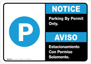 Notice: Bilingual Parking By Permit Only Landscape