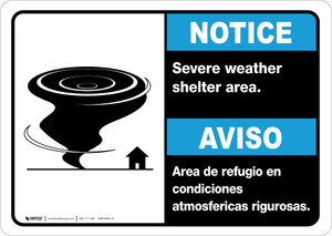 Notice: Bilingual Severe Weather Shelter Area with Icon Landscape
