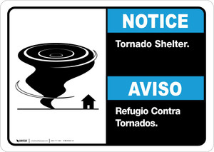 Notice: Bilingual Tornado Shelter with Icon Landscape