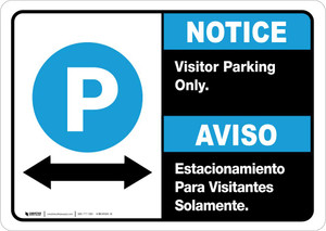 Notice: Bilingual Visitor Parking Only Bidirectional Arrow Landscape