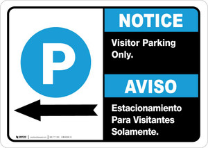 Notice: Bilingual Visitor Parking Only Left Arrow Landscape