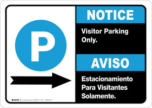 Notice: Bilingual Visitor Parking Only Right Arrow Landscape