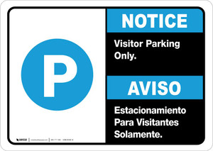 Notice: Bilingual Visitor Parking Only Landscape