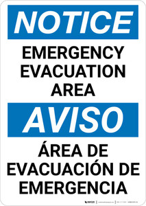 Notice: Bilingual Emergency Evacuation Area Portrait