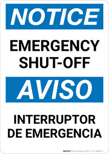 Notice: Bilingual Emergency Shut-off Portrait