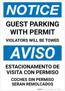 Notice: Bilingual Guest Parking With Permit - Violators Will Be Towed Portrait