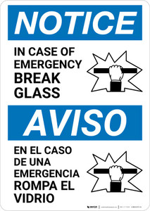 Notice: Bilingual In Case Of Emergency Break Glass with Icon Portrait