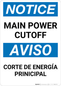 Notice: Bilingual Main Power Cut-off Portrait