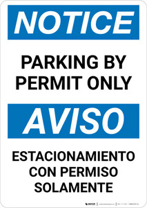 Notice: Bilingual Parking By Permit Only Portrait