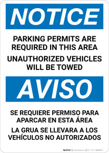 Notice: Bilingual Parking Permits Are Required In This Area Portrait