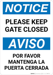 Notice: Bilingual Please Keep Gate Closed Portrait