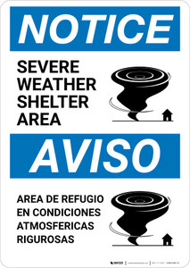 Notice: Bilingual Severe Weather Shelter Area with Icon Portrait