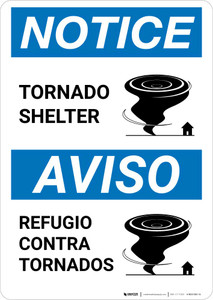 Notice: Bilingual Tornado Shelter with Icon Portrait