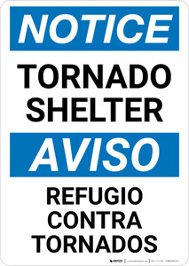 Notice: Bilingual Tornado Shelter Portrait