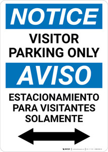 Notice: Bilingual Visitor Parking Only Bidirectional Arrow Portrait