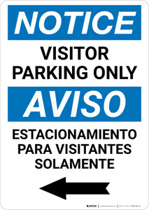 Notice: Bilingual Visitor Parking Only Left Arrow Portrait