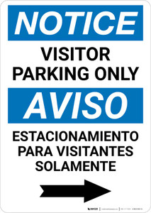 Notice: Bilingual Visitor Parking Only Right Arrow Portrait