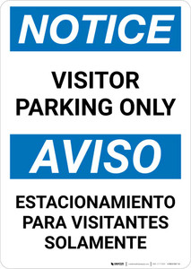 Notice: Bilingual Visitor Parking Only Portrait