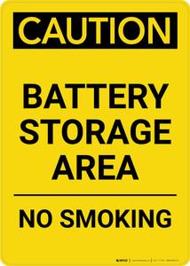 Caution: Battery Storage Area - No Smoking Portrait