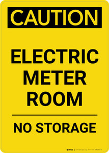 Caution: Electric Meter Room No Storage Portrait