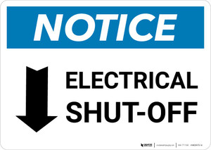 Notice: Electrical Shut-Off Landscape with Down Arrow