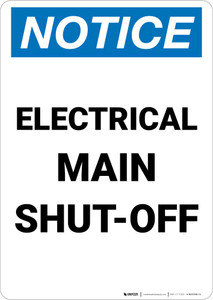 Notice: Electrical Main Shut-Off Portrait