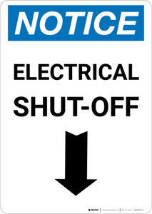 Notice: Electrical Shut-Off Portrait with Down Arrow