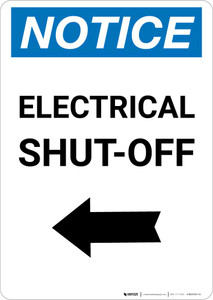 Notice: Electrical Shut-Off Portrait with Left Arrow